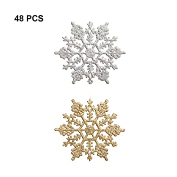 Christmas Snowflakes.Plastic Glitter Snowflake Pack Of 48 Multiple Color Snowflakes 4 Hanging Sparkling Christmas Snowflakes Snowflake Decorations Christmas