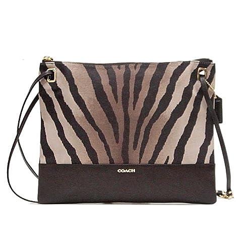 coach madison zebra print fabric leather convertible hippie rh amazon com