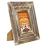 Indian Heritage Wooden Photo Frame 4x6 Mango Wood Molding Design in Dark Wood and White Wash Finish