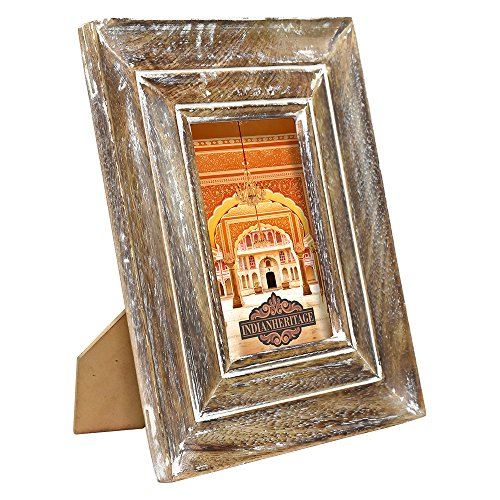 Indian Heritage Wooden Photo Frame 4x6 Mango Wood Molding Design in Dark Wood and White Wash Finish by Indian Heritage