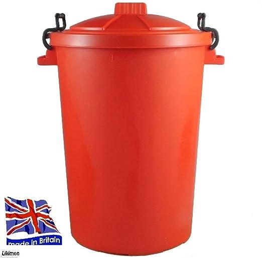 Nueva. 70 L rojo resistente cubo de la basura/jardín basura/cubo ...