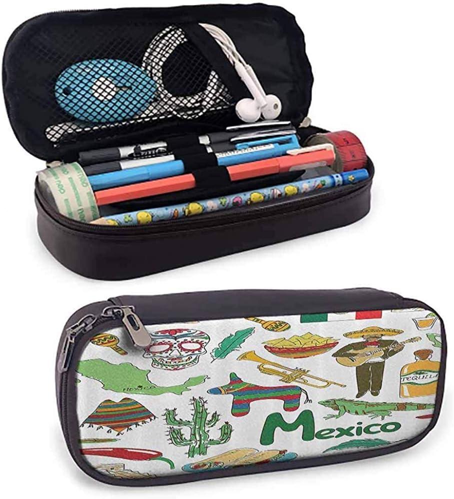 Estuche para lápices Diversión Dibujo colorido Pirámide de chile de México Nachos Cactus Música Poncho Imagen Verde Oliva Mostaza: Amazon.es: Oficina y papelería