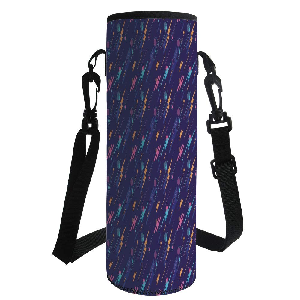 iPrint Water Bottle Sleeve Neoprene Bottle Cover,Geometric,Futuristic Dynamic Abstract Composition Dots and Lines Retro Fun,Dark Purple Multicolor,Fit for Most of Water Bottles