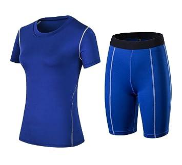 50f4f8e81 ... T-shirt & Sports Shorts Tights Legging Set Top Base Layer Exercise  Fitness Short Yoga Pilates Gym Cross Training Running Jogging Short Sleeve  Quick Dry ...