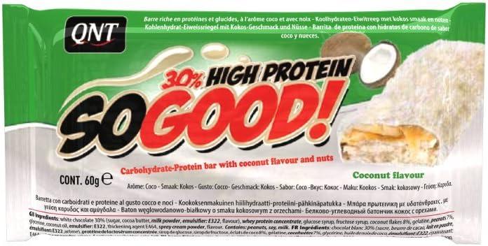 QNT So Good 60 g chocolate blanco y coco; 15 barritas: Amazon ...