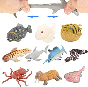 Ocean Sea Animal10 Pack Rubber Bath Toy SetFood Grade Material TPR Super Stretchy Some Kinds Can Change ColourValeforToy Squishy Floating Bathtub Toy Figure PartyRealistic Shark Octopus Fish