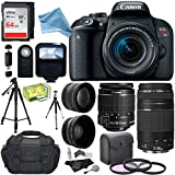 Canon EOS REBEL T7i EF-S 18-55 IS STM Kit, EF 75-300mm III, 64GB, Wide Angle, Telephone Lens, 57 Tripod and DigitalAndMore Accessory Bundle