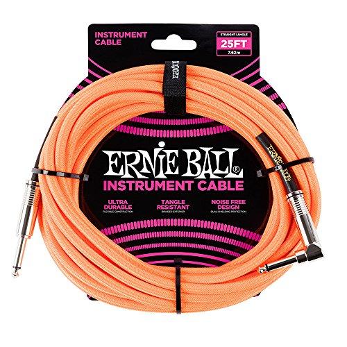 Ernie Ball Instrument Cable, Neon Orange, 25 - Orange Guitar Neon Cable