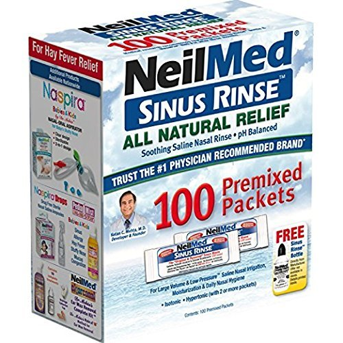 NeilMed Sinus Rinse 100 Salt Premixed Packets for Allergies & Sinus (Pack of 2)