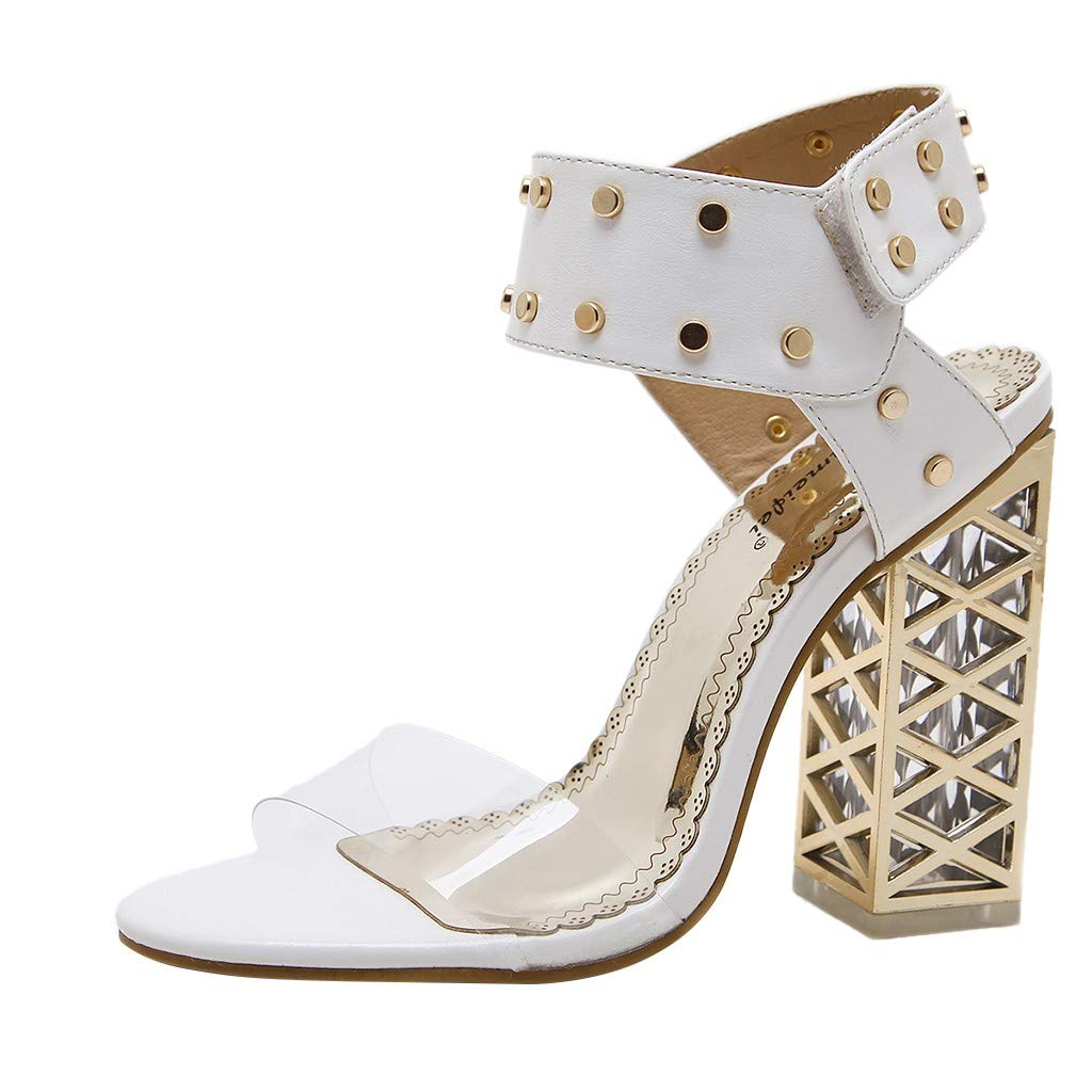 Nadition Fashion High Heels Shoes ❤️️ Women's Summer Crystal Rivets Hollow Chunky Pump Sandals Evening Party Shoes White