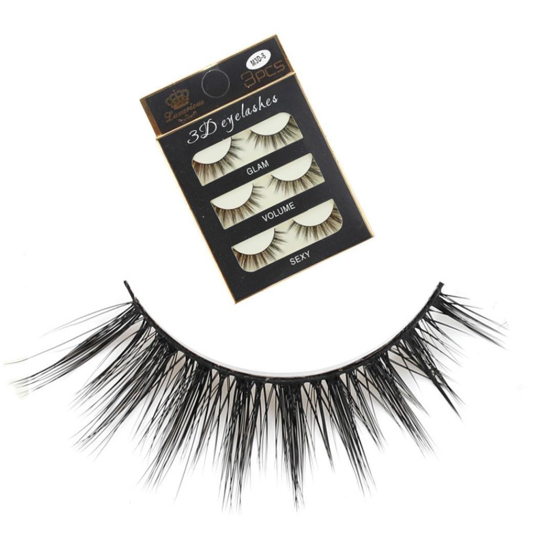 94d2dc73dfd Amazon.com : NewKelly 3 Pairs Thick Long Cross Party False Eyelashes Black  Band Fake Eye Lashes : Beauty