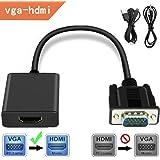 VGA-HDMI 変換 アダプタ HDMIケーブルVGA→HDMI 出力 ビデオ変換アダプタ 1080P 音声転送 TV PC プロジェクター ディスプレイ 変換