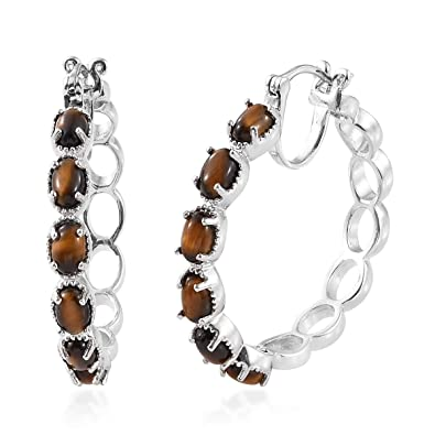 03d92316d Amazon.com: Platinum Oval Tigers Eye Fashion Hoops, Hoop Earrings for Women  Jewelry Gift: Jewelry