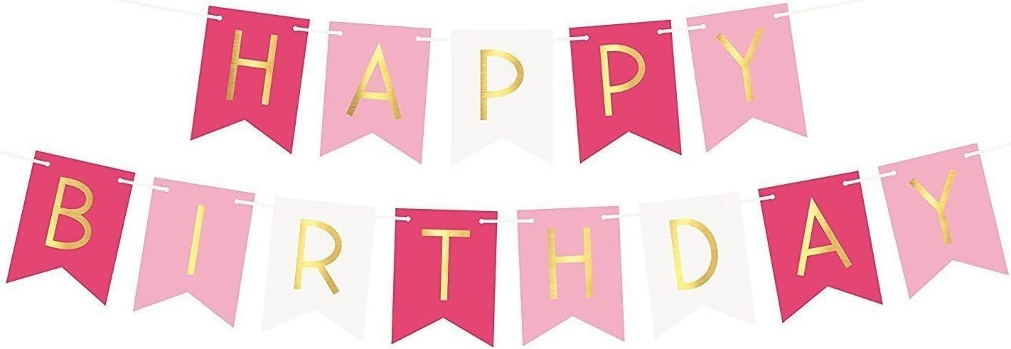 Black AKA Happy Birthday Party Garland Bunting Banner with Gold Letters