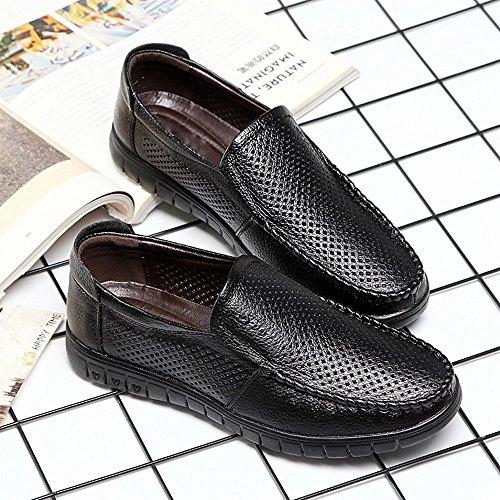 Tamaño Hombre Superior Soft Los Clásicos Slip Negro color Zapatos Eu shoes Piso Negro on Loafer Shufang Perforation De 42 2018 Cuero Para Suela Genuino Mocasines Transpirable Hombres UfIWgq