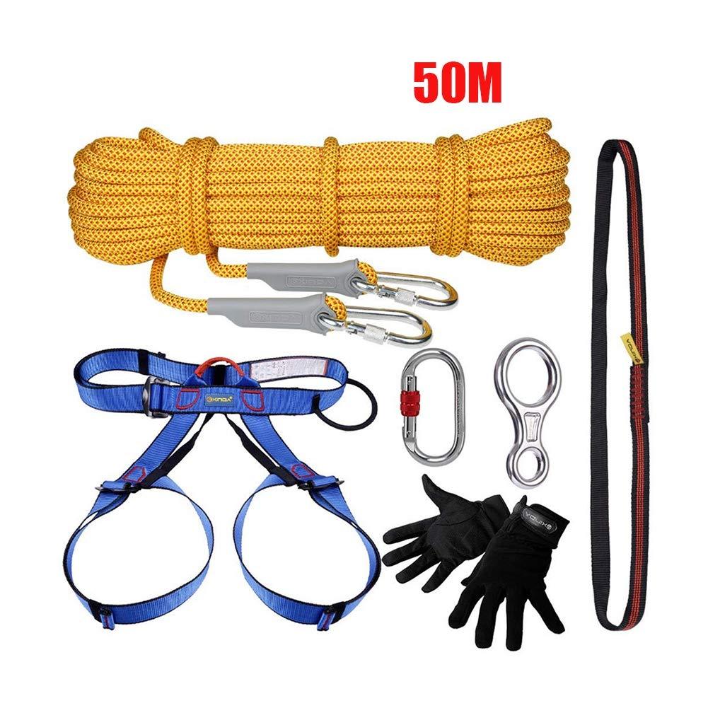 屋外クライミングキットクライミング機器ディセンダ安全ロープ洞窟下り坂登山保護セット50m   B07Q5WXCF2