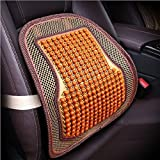 RUIX Summer Car Auto Seat Office Chair Lumbar Support Cushion Pad Wood Beads Massage Lumbar Pillow,Orange