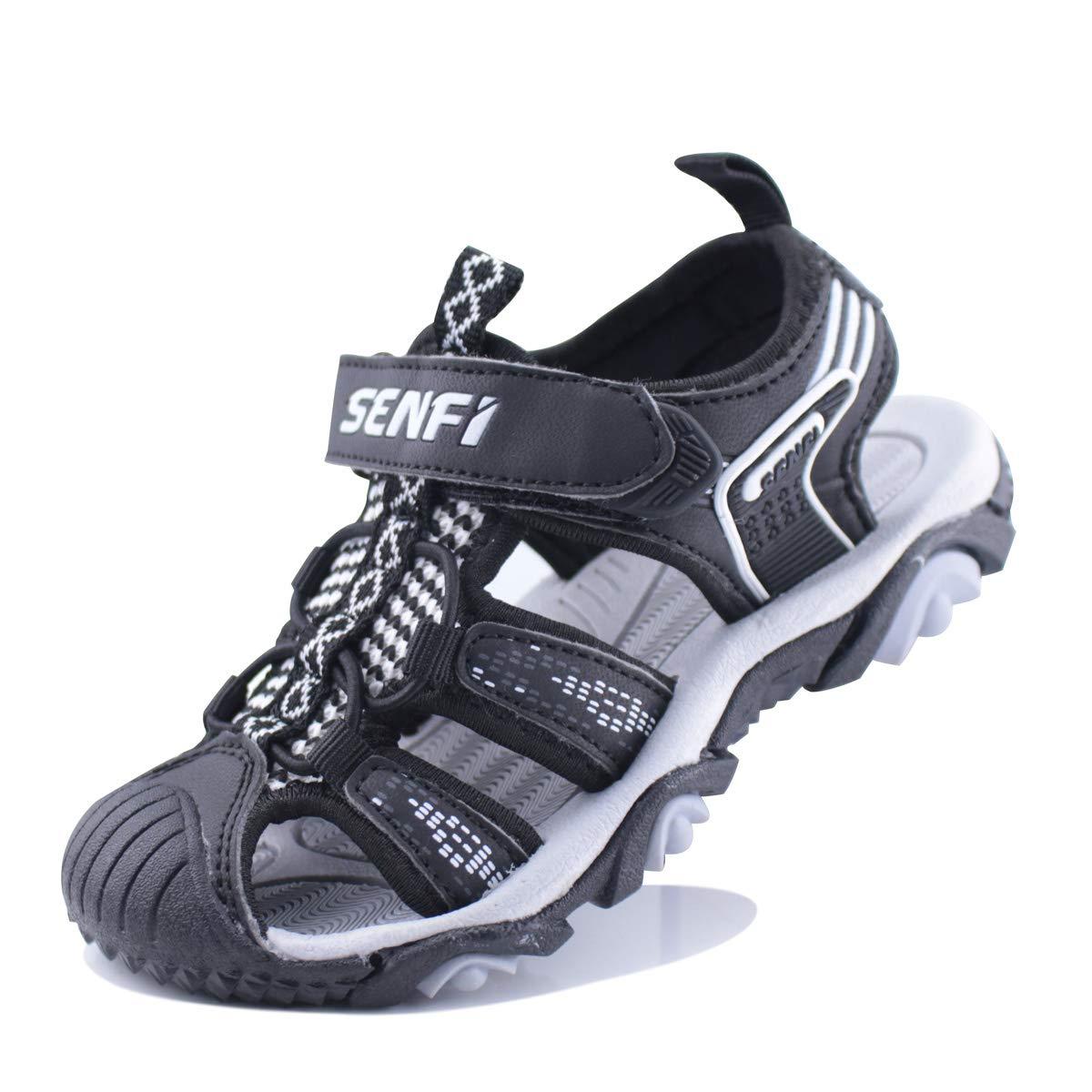 SENFI Boys Sport Sandal Summer Breathable Closed-Toe Strap Walking Shoes,BSF-black-32