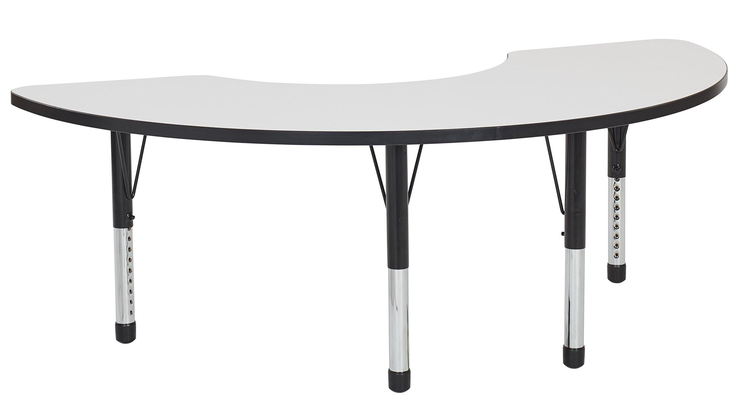ECR4Kids Dry Erase 36'' x 72'' Half Moon Whiteboard School Activity Table, Chunky Legs, Adjustable Height 15-24 inch (Black)