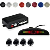 EKYLIN Car Auto Vehicle Reverse Backup Radar System with 4 Parking Sensors Distance Detection + LED Distance Display…