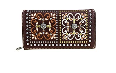 50b5aef005eb9 Amazon.com  Montana West Aztec Floral Flower Trifold Zipper Wallet ...