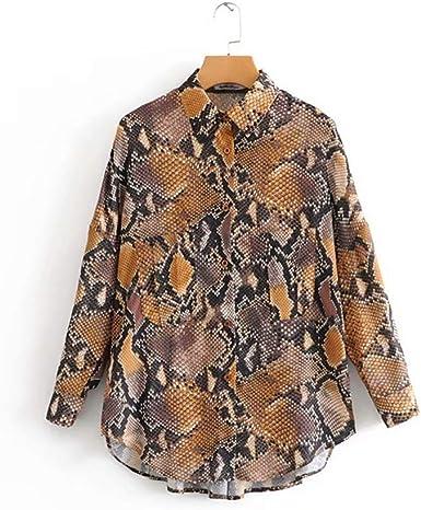 HNOSD Mujeres Moda Vintage Sexy patrón de Piel de Serpiente Bolsillo Blusa Suelta Blusa Camisa Mujer Casual Tops Delgados Femininas Blusas LS2643: Amazon.es: Ropa y accesorios