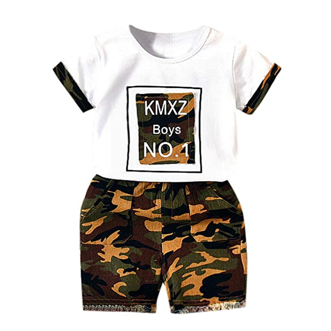 308fcdab2 Heiner Toddler Kids Baby Boys Outfits Clothes T-Shirt Tops+Camouflage  Shorts 2PCS Set(2 Year-7 Year: Amazon.ca: Clothing & Accessories