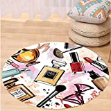 VROSELV Custom carpetGirly Decor Cosmetic and Make Up Theme Pattern with Perfume and Lipstick Nail Polish Brush Modern City Lady Bedroom Living Room Dorm Decor Multi Round 79 inches