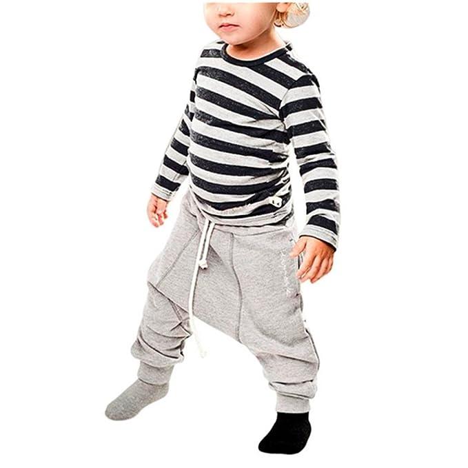 Covermason Niño Manga larga Rayas camiseta Tops y Haren Pantalones (1 conjunto) (4
