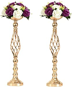2pcs Metal Gold Candle Holders Road Lead Table Centerpiece Stand Pillar Candlestick for Wedding Candelabra Flowers Vases (Gold, 23.2