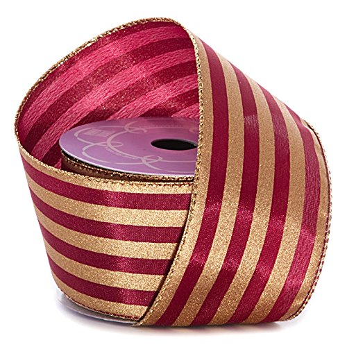 "Burgundy Gold Striped Christmas Ribbon - 2 1/2"" x 10 Yards, Wired Ribbons for Crafts, Wedding Centerpieces, Valentine"
