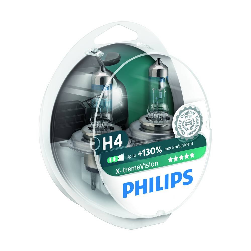Philips X-treme Vision H4 Headlight Bulbs (Twin Pack) 0730222