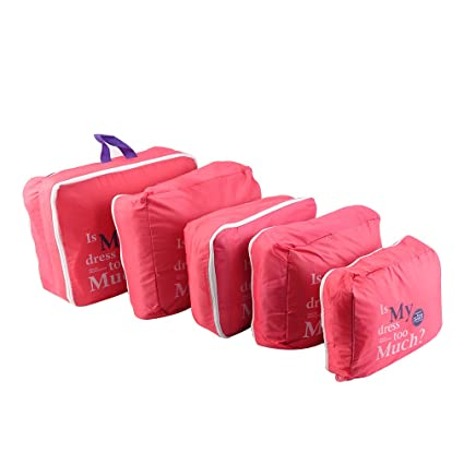 OurLeeme 5PCS bolsas de equipaje Organizador impermeable para guardar la ropa de viaje ropa interior
