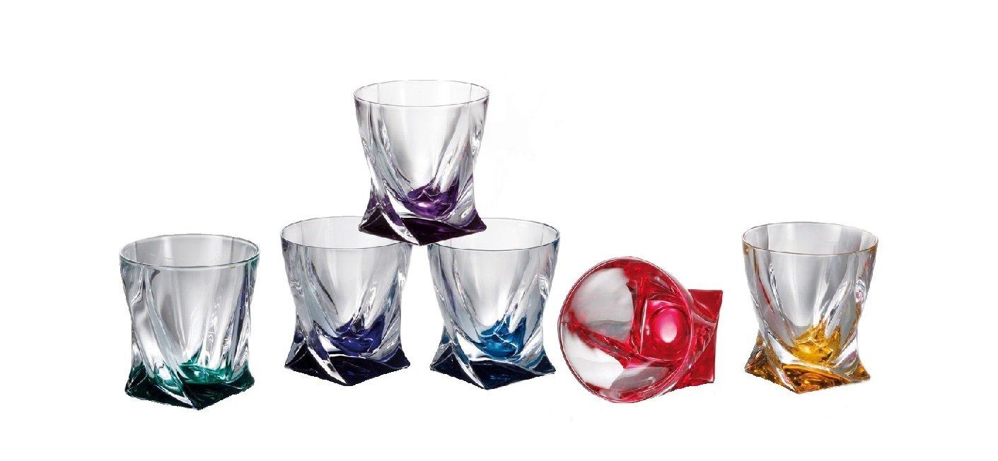 Crystalex Bohemia Quadro Rainbow Colored Tumblers, 11 Oz Bohemian Crystal Glass Whiskey/Brandy Tumblers (SET of 6)