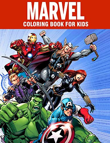 MARVEL coloring book for kids: Super Heroes illustrations for boys and girls (age 3-10) Avangers: Iron Man, Thor, Hulk, Captain America, Black Panther, Spider-Man, Doctor Strange, Thanos, Infinity -