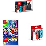 Nintendo Switch Neon with Mario Tennis Aces + Nintendo Switch Joy-Con Controller Pair - Neon Red/Neon Blue
