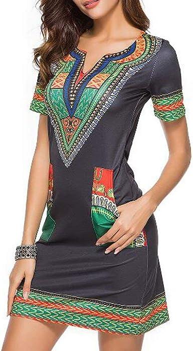 Kemosen Verano Elegante Sencillo Vestido Mujer Boho Vestido Camisa Liso Manga Corta: Amazon.es: Ropa y accesorios