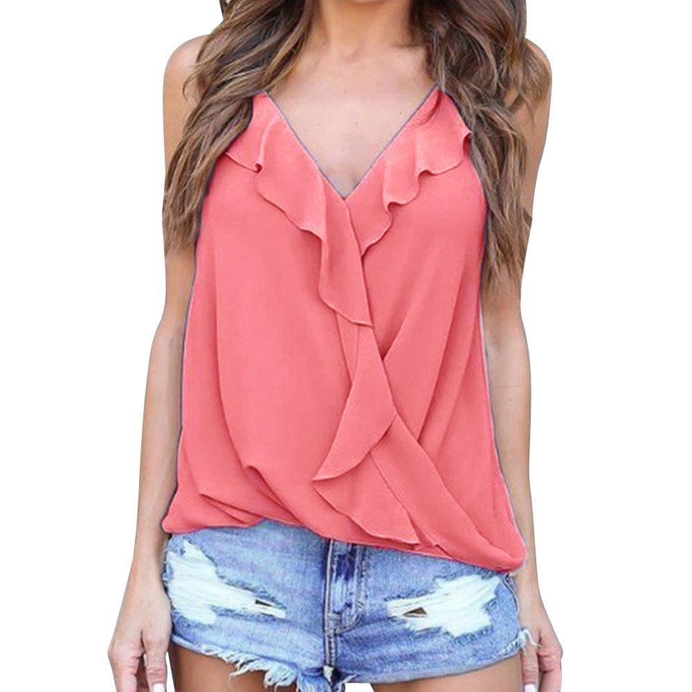 Roemdia Womens Summer V Neck Straps Vest Chiffon Casual Tank Tops Cami T-Shirt Pink