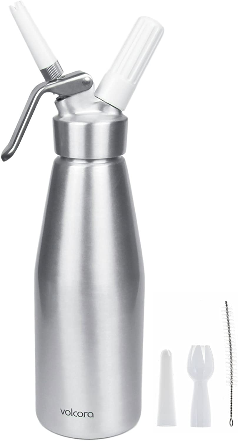 1L Aluminum Whipped Cream Dispenser, Silver Professional Whipper, 2 Pint, 3 Decorating Nozzles