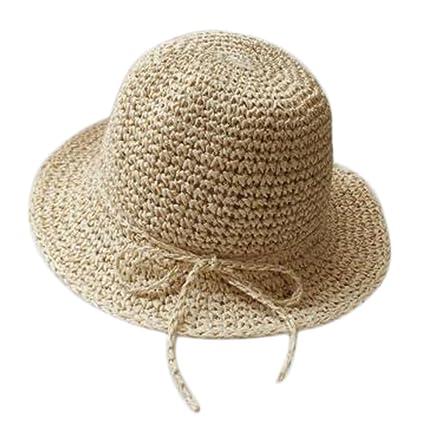 Kanggest Sombrero de Paja del Verano de los Niños Sombrero del Sol del  Bowknot de los 85ded49505d