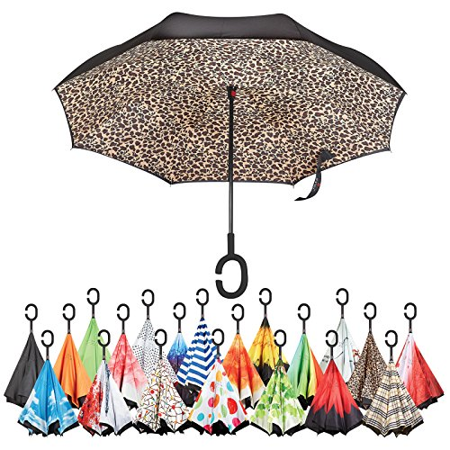 Sharpty Inverted Umbrella, Umbrella Windproof, Reverse Umbrella, Umbrellas for Women with UV Protection, Upside Down Umbrella With C-Shaped Handle (Leopard) by Sharpty