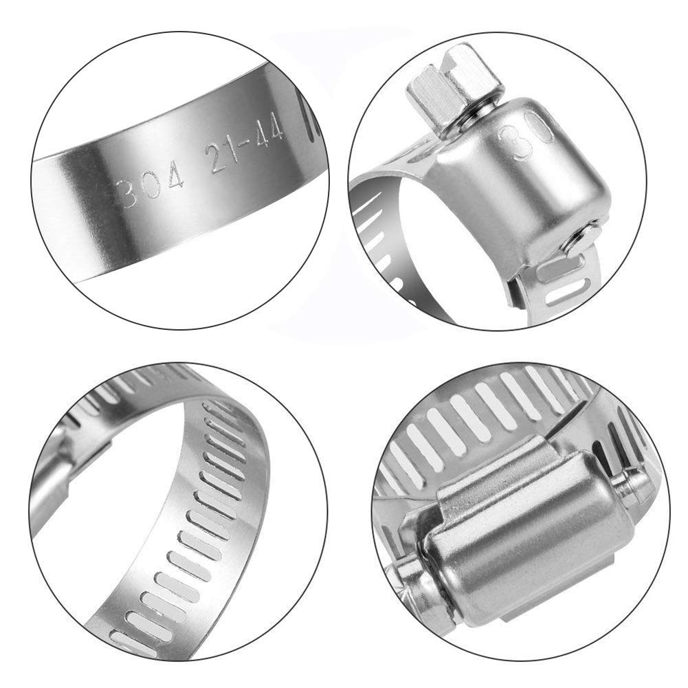 Size Range Worm Gear Clamps Hose Clamp Stainless Steel 20 Pack Adjustable 2.04-2.99 in Automotive and Mechanical Application Fuel Line Hose Clamp for Plumbing 2.04-2.99 in 52-76mm 52-76mm