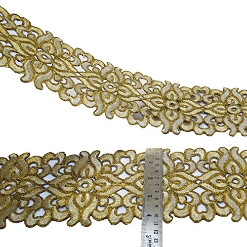 """Embroidered Fabric Trim Floral Cut-Work Ribbon 4.6"""" Wide Sari Border By The Yard"""