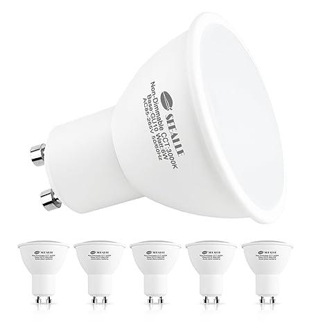 Bombillas LED GU10 6W, Seealle Equivalente a 60Watt Halogenos Lámpara Incandescente, Blanco Calído,