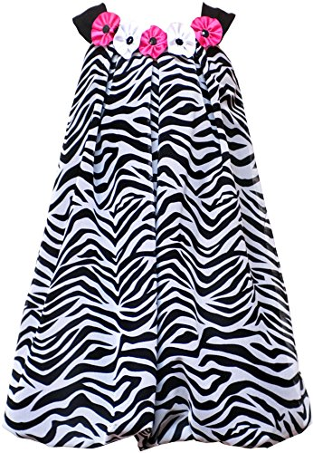 Rare Editions Little Girls 2T-6X Black White Zebra Stripe Rosette Neckline Bubble Dress, Black/White, 5 ()