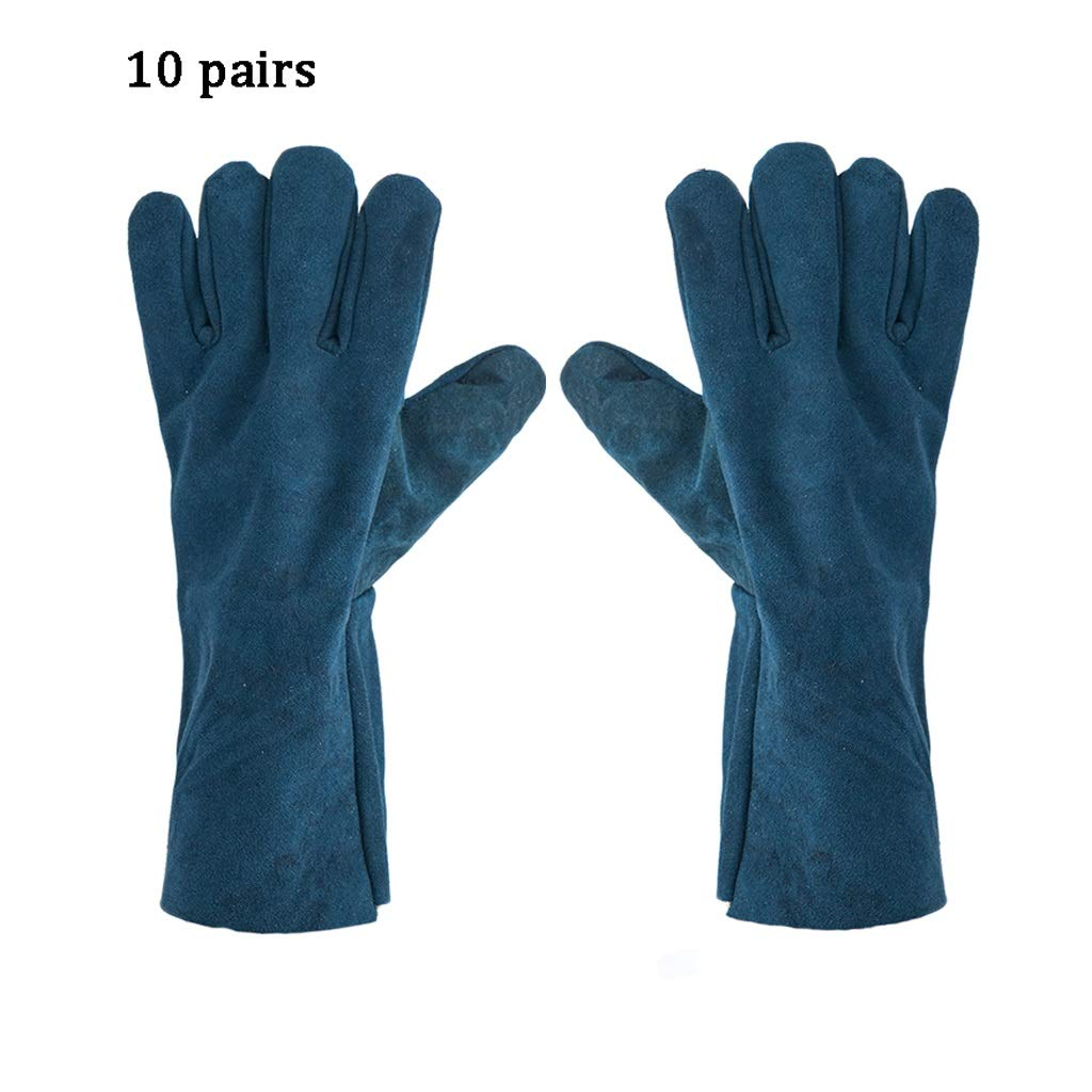 Zyj Welding Gloves 10 Pairs of 33cm Long Leather Soft Labor Insurance Work Gloves Wear Heat Insulation Anti-scalding