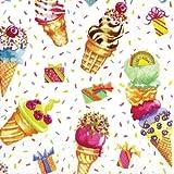 Caspari Entertaining Ice Cream Party Paper Cocktail Napkins, Pack of 20
