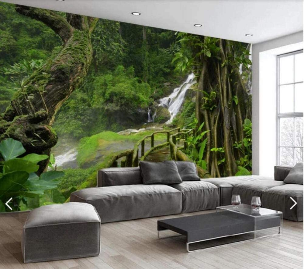 3D waterfall fores Wall Paper Wall Print Decal Wall Deco Indoor wall Mural Home