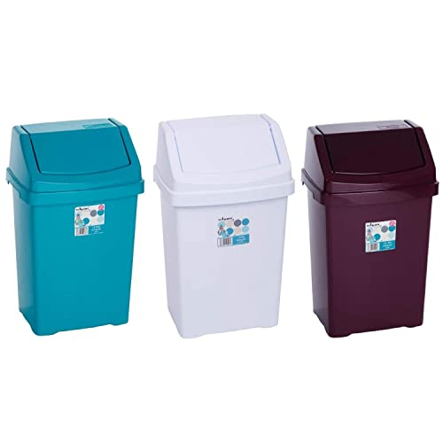 High Grade 8l Cream Wham Plastic Flip Top Waste Bin