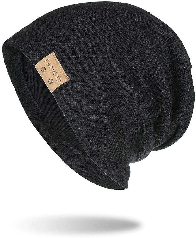 FZAI Men's Winter Hat Warm Plus Fleece Wool Knit Caps Ear Cap Slouchy Beanie Hat